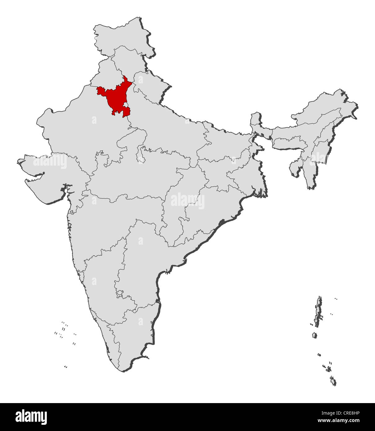 Haryana India Map.Political Map Of India With The Several States Where Haryana Is