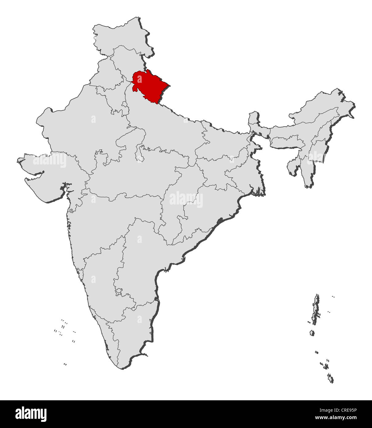 Map Of Uttarakhand Stock Photos & Map Of Uttarakhand Stock ...