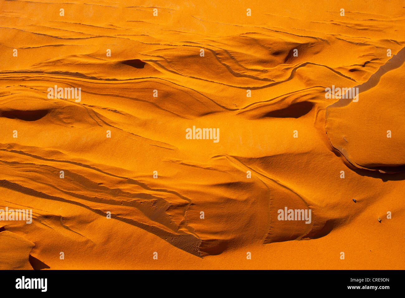 Sand shaped by the wind, after heavy rains, sand dunes of Erg Chebbi, Sahara, Morocco, Africa - Stock Image