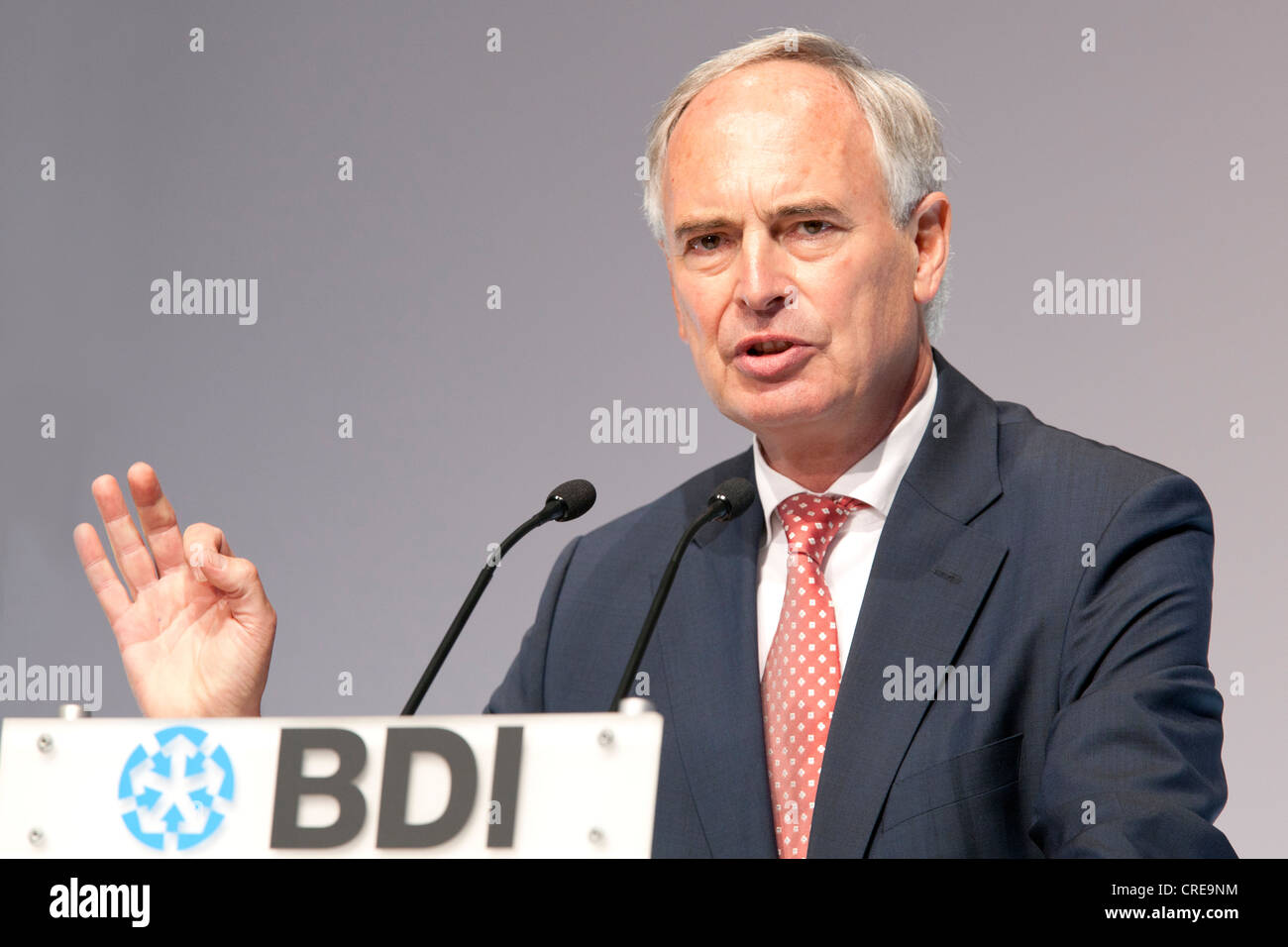 Hans-Peter Keitel, chairman of the Bundesverband der Deutschen Industrie e.V., Federation of German Industries, - Stock Image