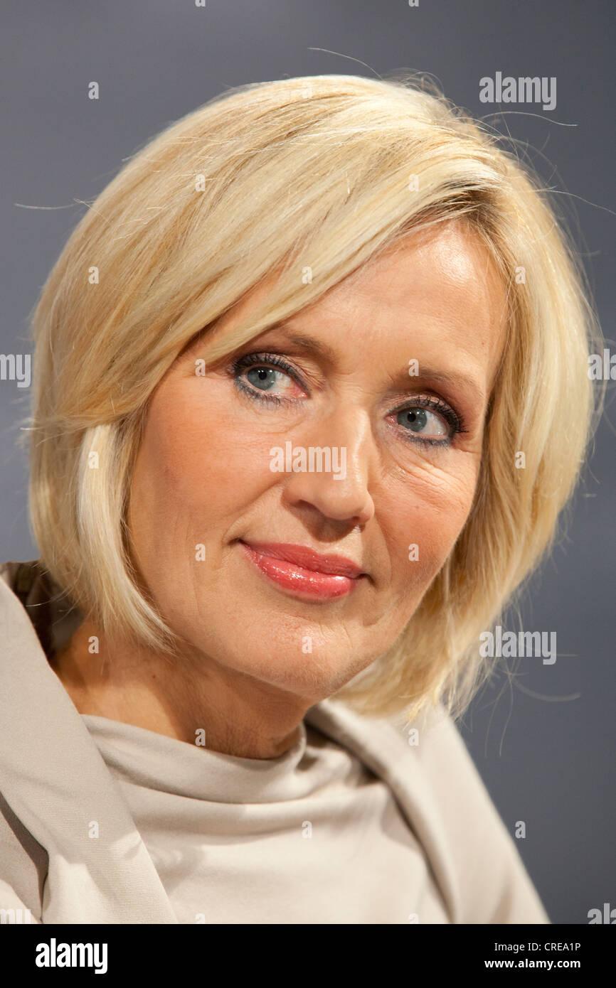 Petra Gerster, journalist and TV presenter for ZDF, Zweites Deutsches Fernsehen, German television channel, 13 October - Stock Image