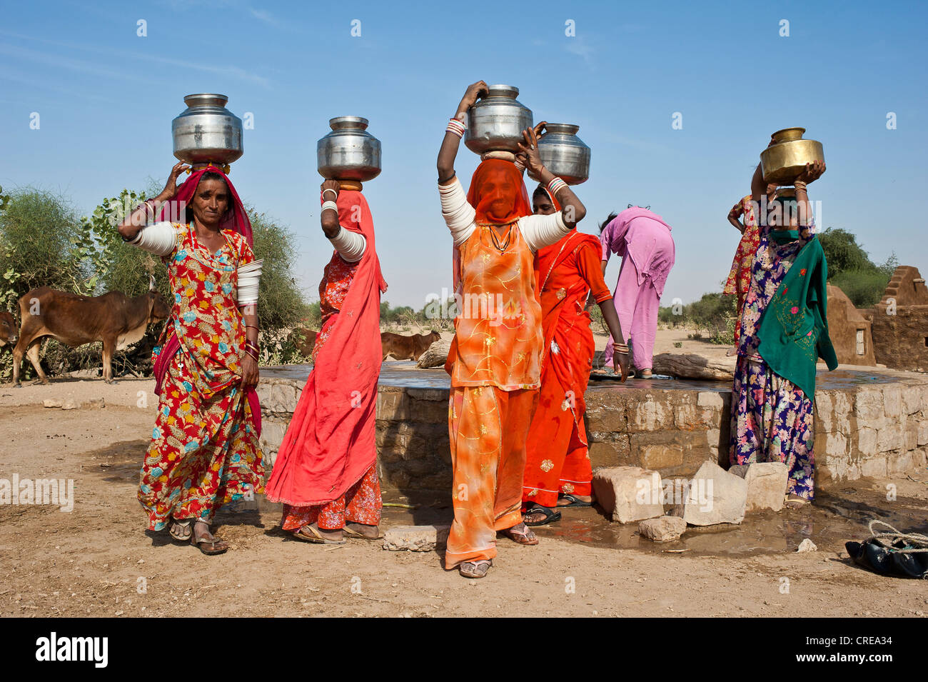 Indian women wearing saris carrying water jugs on their heads, they ...