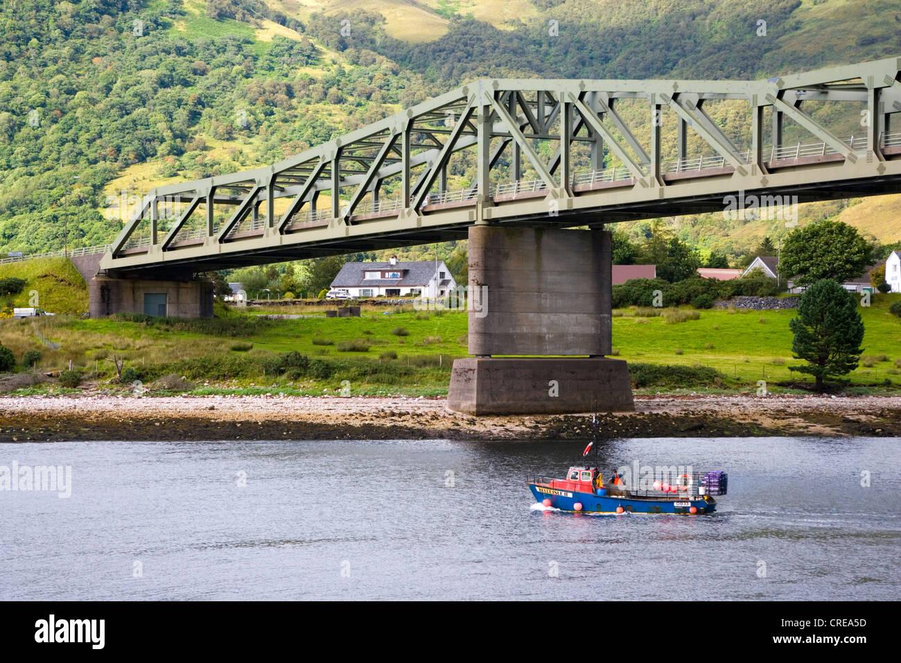 View of Ballachulish Bridge across Loch Leven from South Ballachulish looking to North Ballachulish Scotland - Stock Image