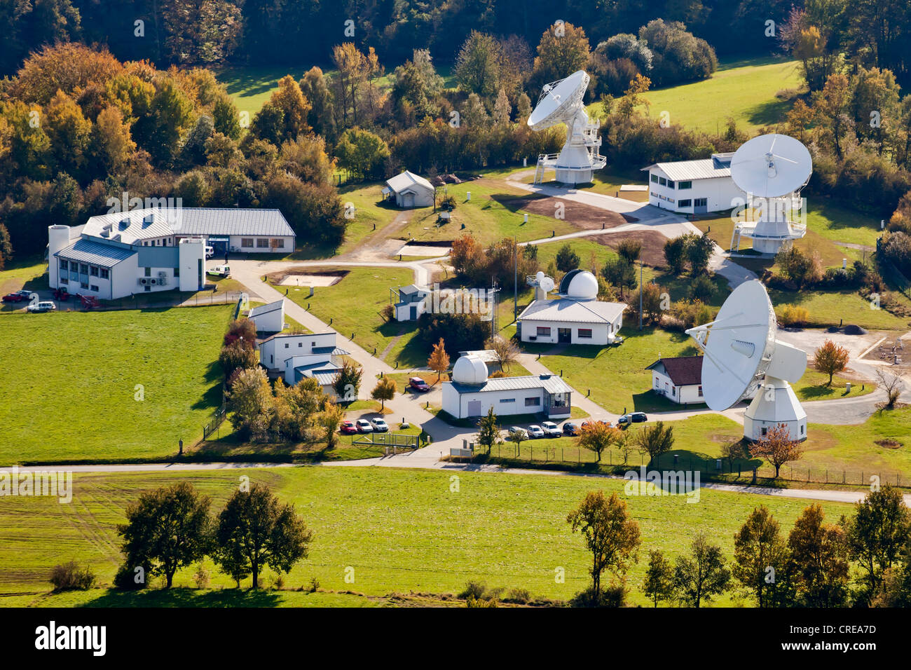 Aerial view of Fundamental Station Wettzell, geodetic observatory with radio telescopes, Wettzell near Bad Koetzting - Stock Image
