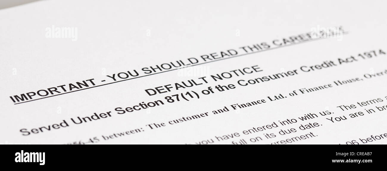 A copy of a letter stating a law, Default Notice, no genuine customer details used, - Stock Image