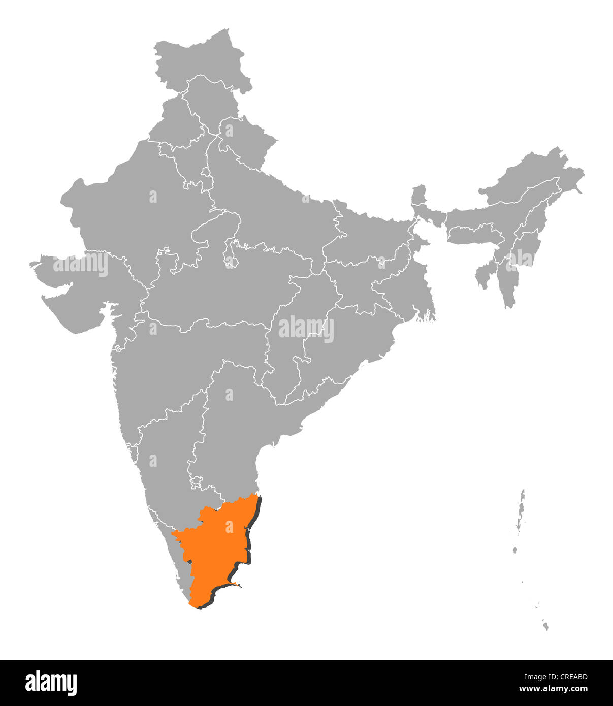 Political map of india with the several states where tamil nadu is political map of india with the several states where tamil nadu is highlighted gumiabroncs Image collections