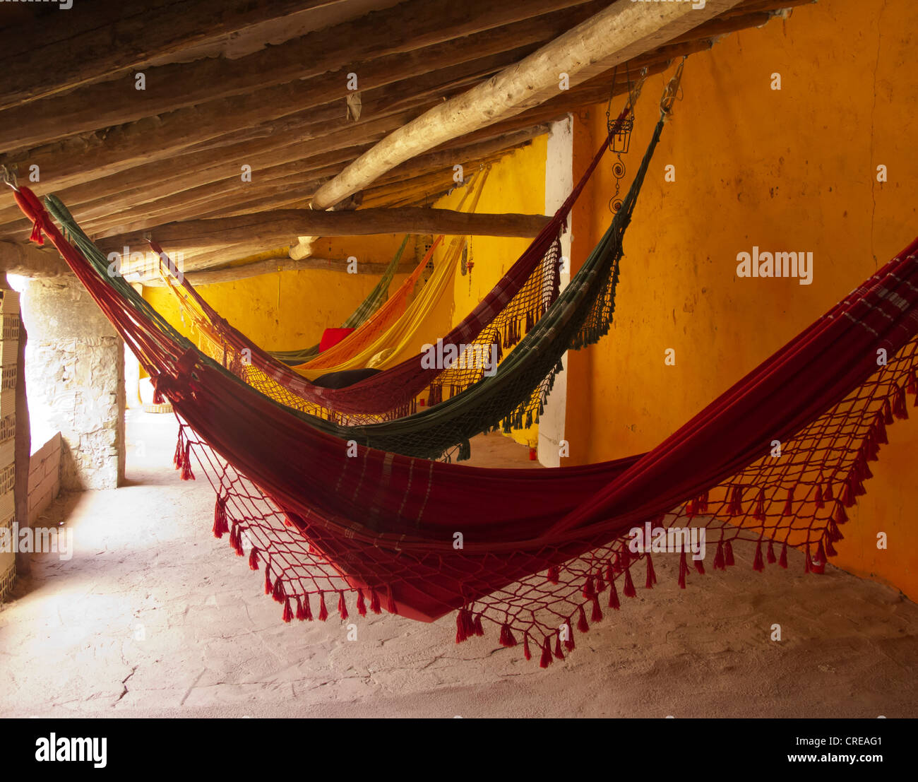 Spain: hammocks hanging in an outdoor terrace - Stock Image