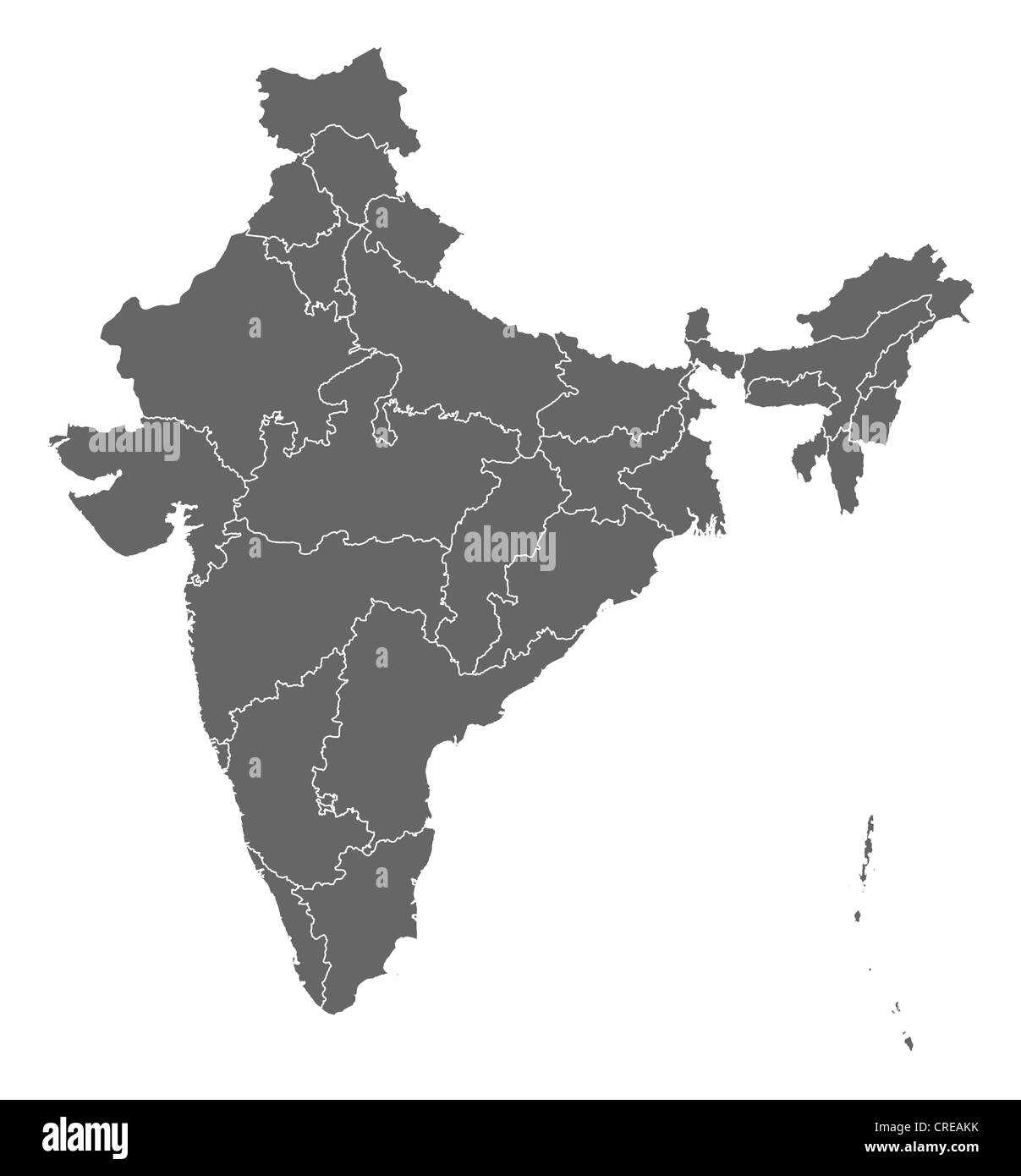 Political map of India with the several states Stock Photo ...