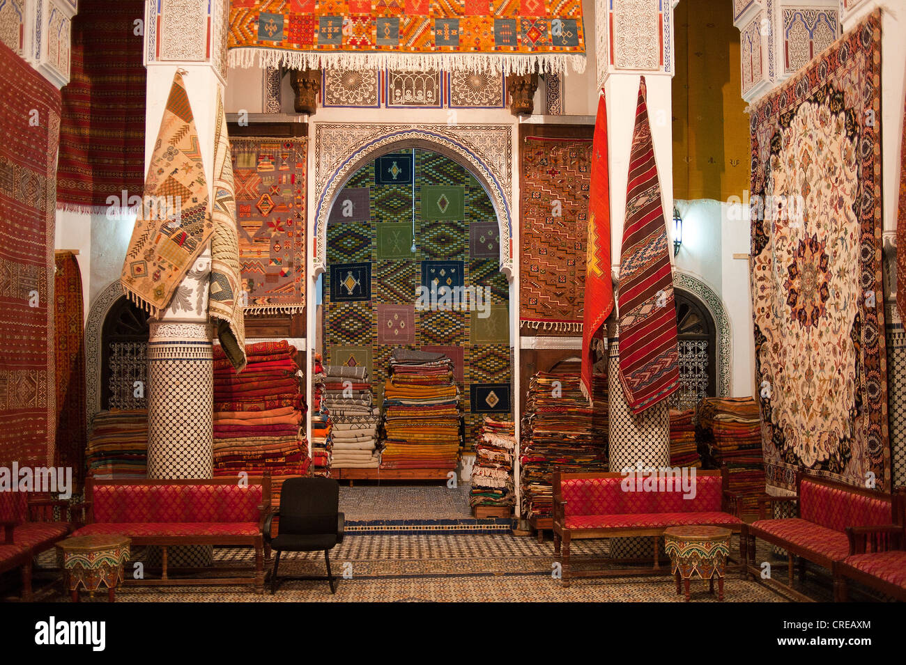 Shop Of A Carpet Dealer In An Old Riad City Palace In The