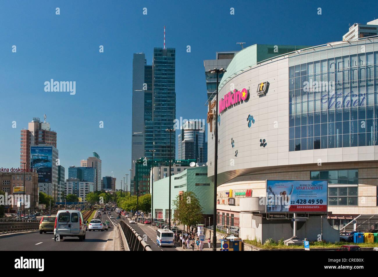Multikino multiplex movie theater and office buildings, John Paul II Avenue (Aleja Jana Pawla II) in Warsaw, Poland - Stock Image