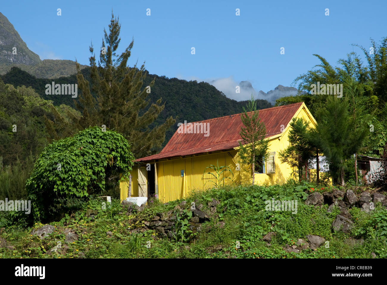 Tin hut in the Cirque de Salazie caldera in Hell-Bourg, Reunion island, Indian Ocean - Stock Image