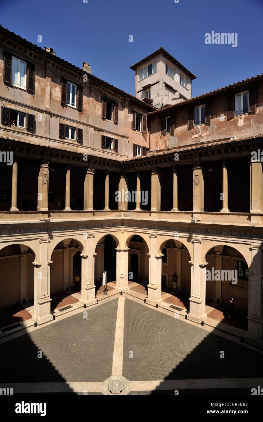 italy, rome, chiostro del bramante, santa maria della pace, renaissance courtyard - Stock Image