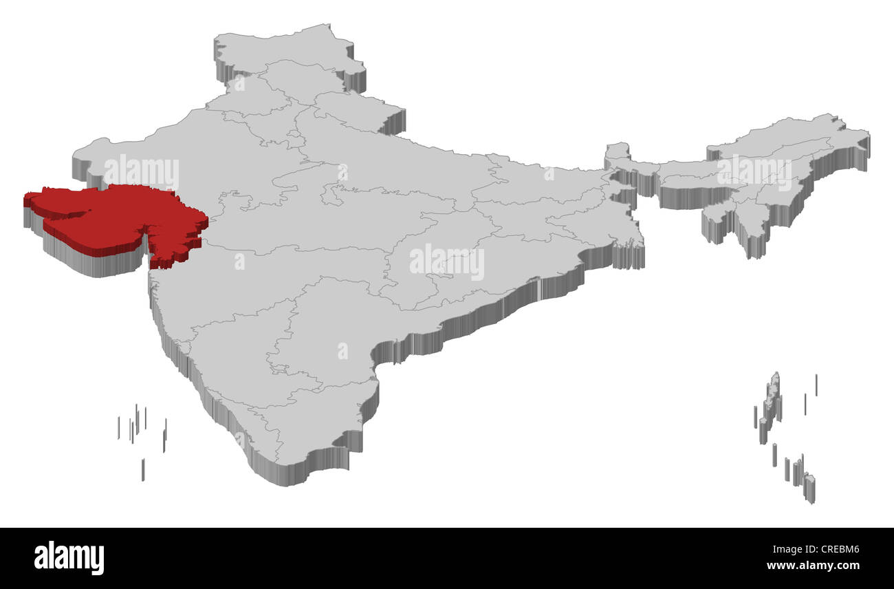 Political map of India with the several