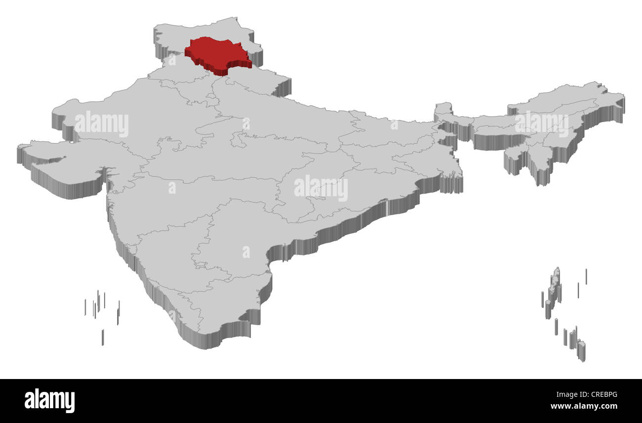 Political map of India with the several states where Himachal Pradesh is highlighted. - Stock Image
