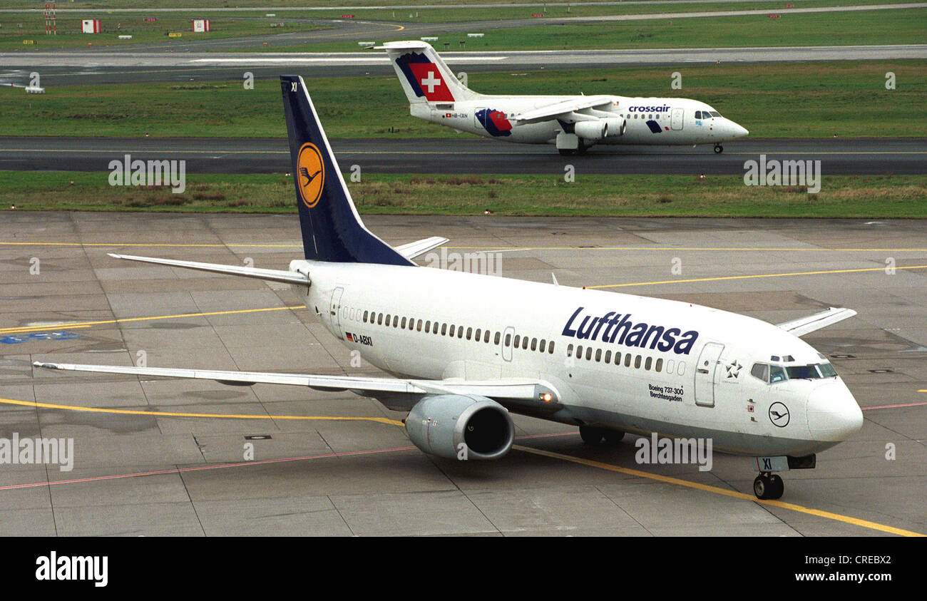 Aircraft to Duesseldorf airport, Germany - Stock Image