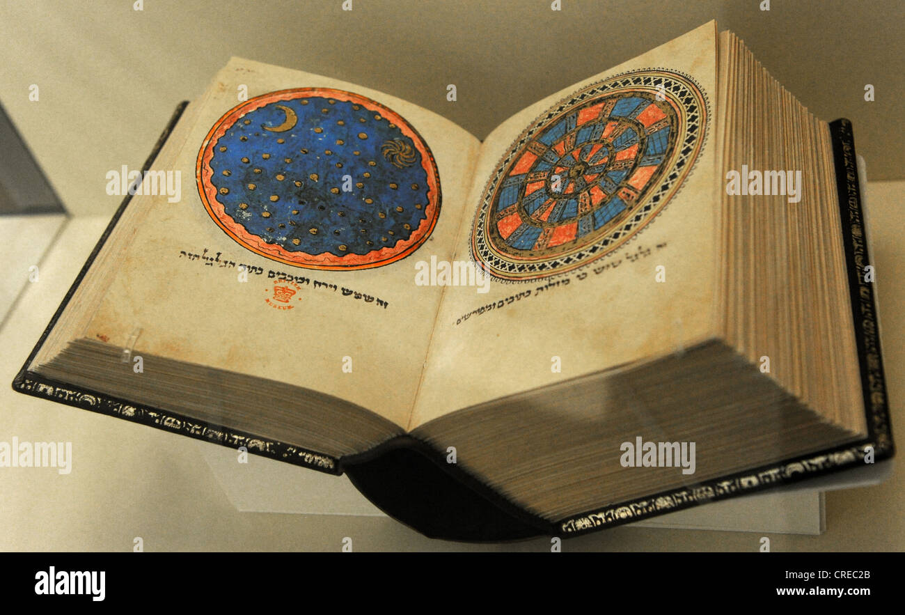 An illuminated Hebrew manuscript (c. 1278). British Library, London. Jewish Museum Berlin. Germany. - Stock Image