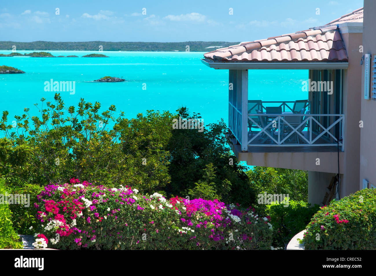 House on chalk sound. Providenciales. Turks and Caicos - Stock Image