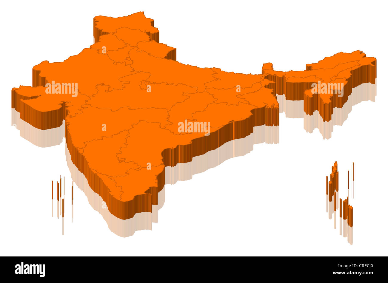 Political map of India with the several states. - Stock Image