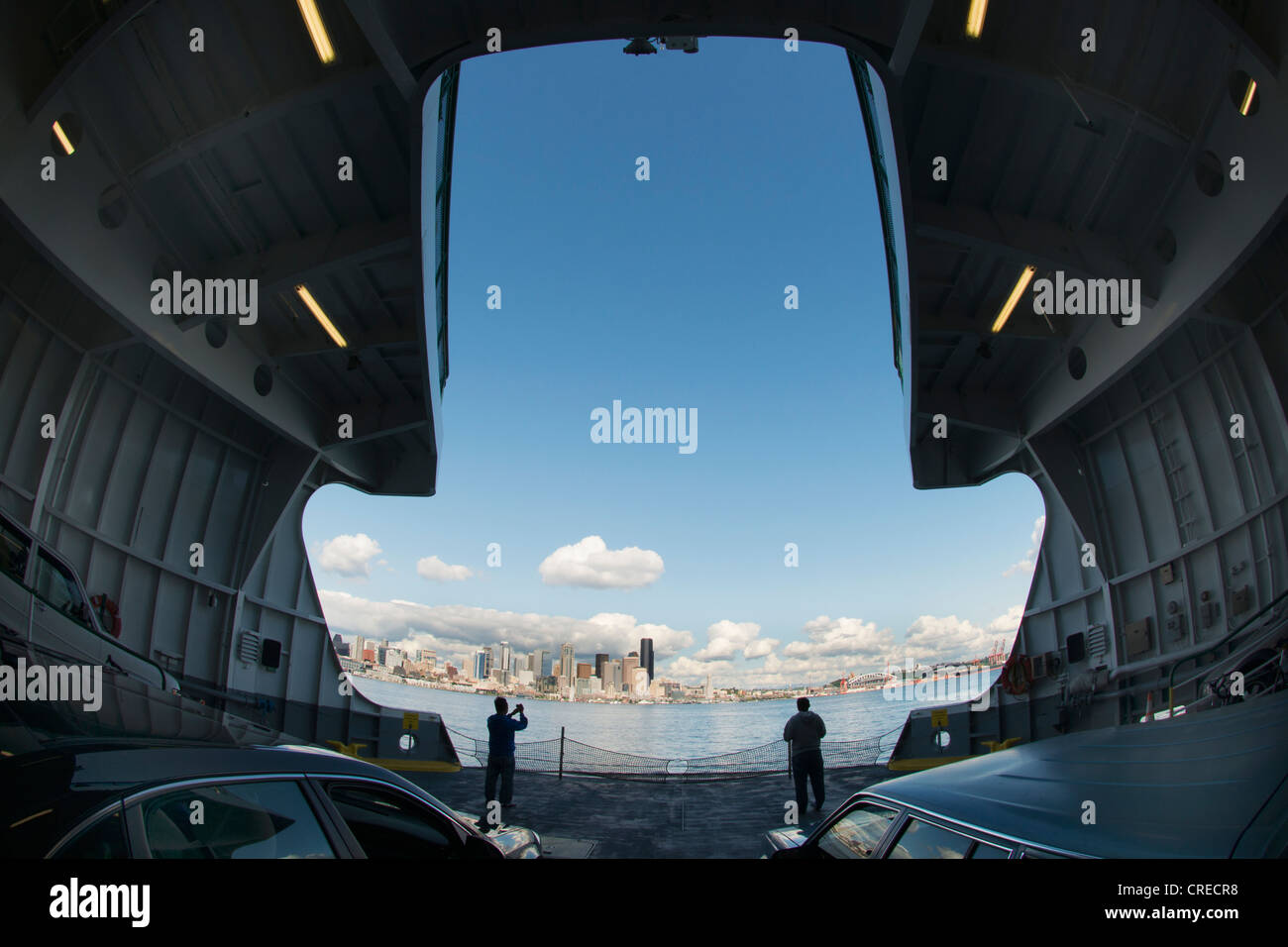 Downtown Seattle from Car Deck of Washington State Ferry - Stock Image