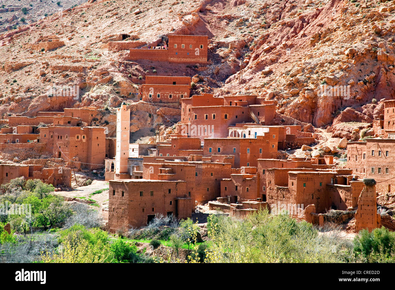 Berber village with traditional mud-brick houses, Telouet, Ounila Valley, High Atlas Mountains, Morocco, Africa Stock Photo