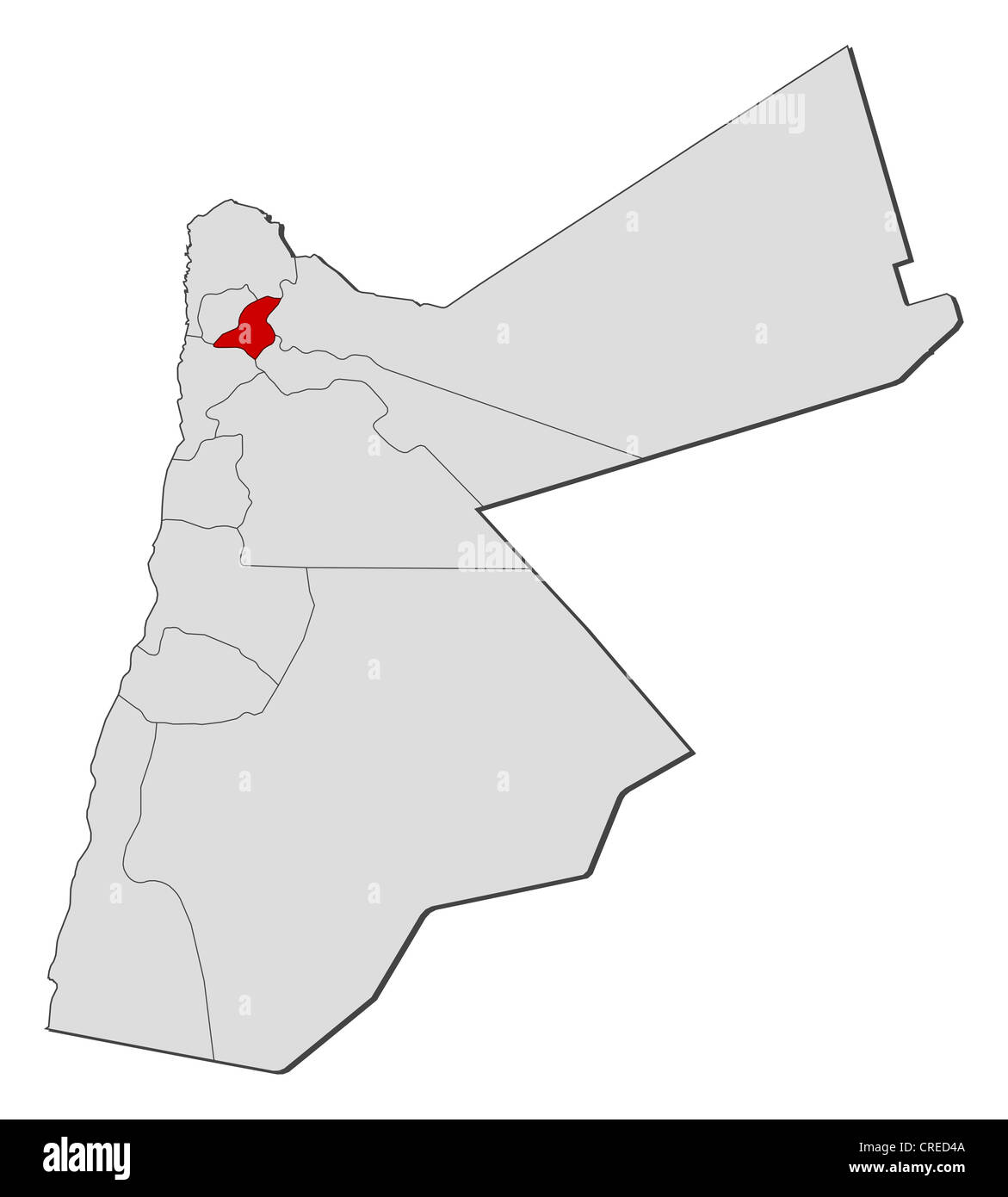 Jordan Political Map.Political Map Of Jordan With The Several Governorates Where Jerash