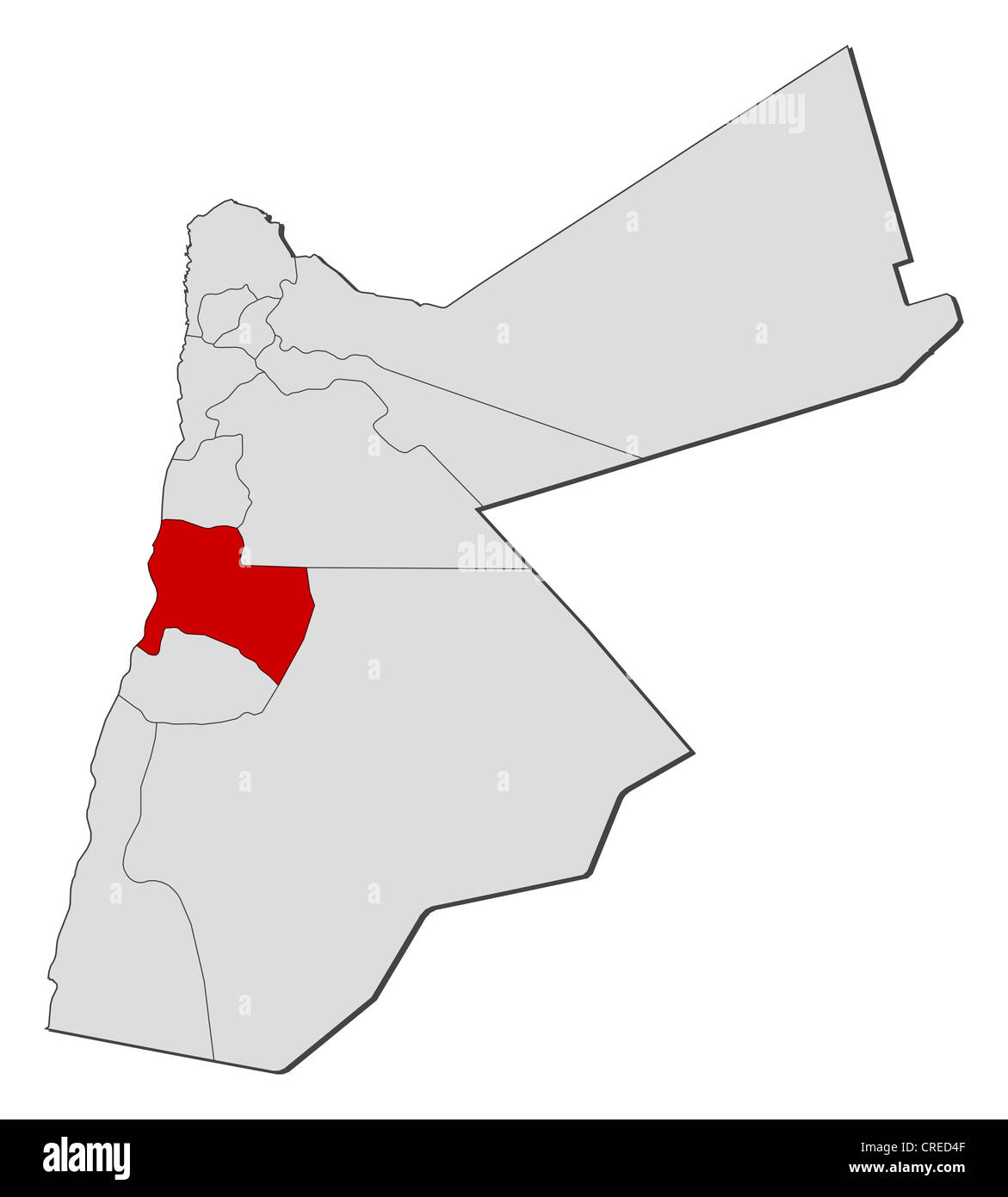 Political Map Of Jordan.Political Map Of Jordan With The Several Governorates Where Karak Is
