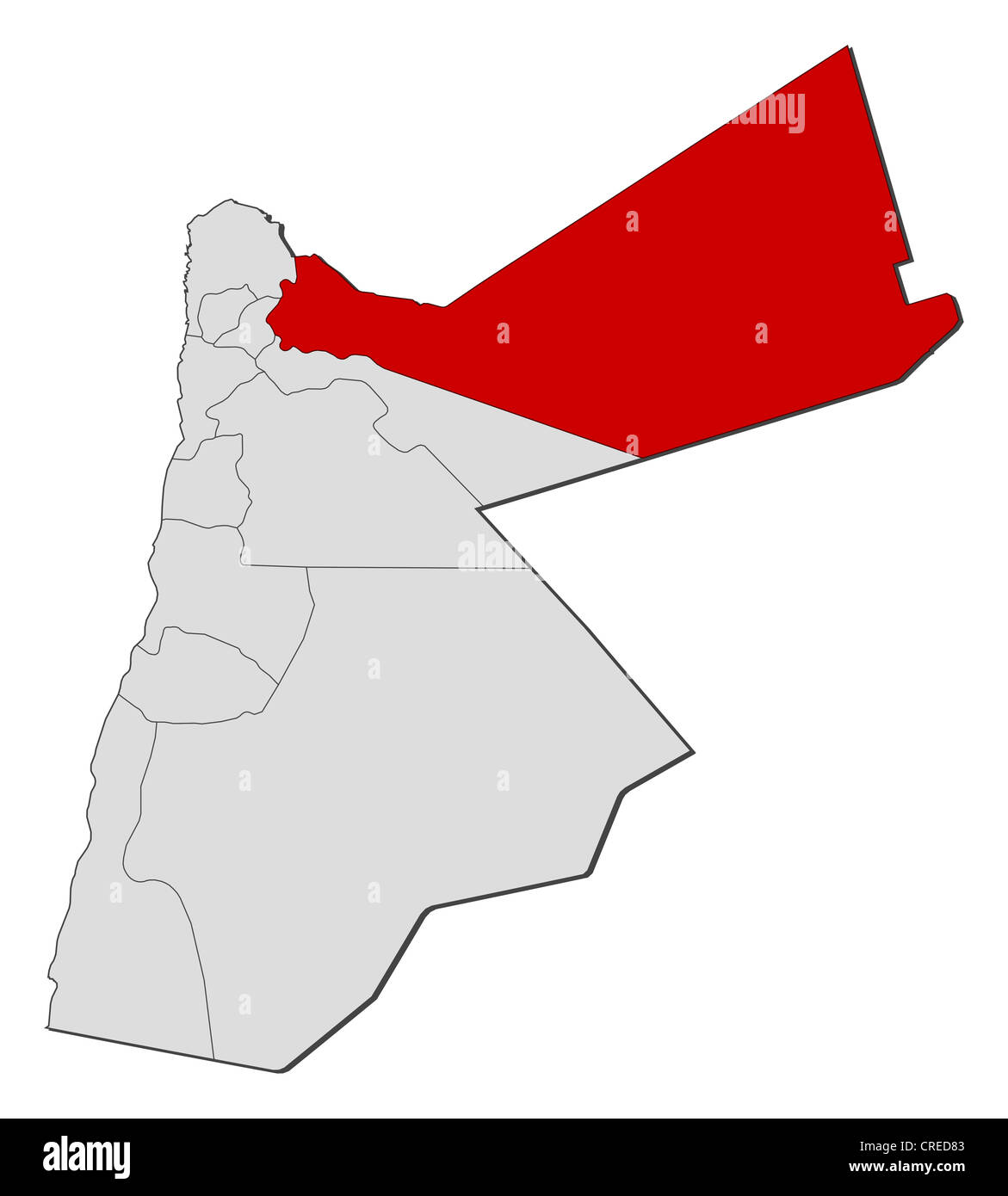 Jordan Political Map.Political Map Of Jordan With The Several Governorates Where Mafraq