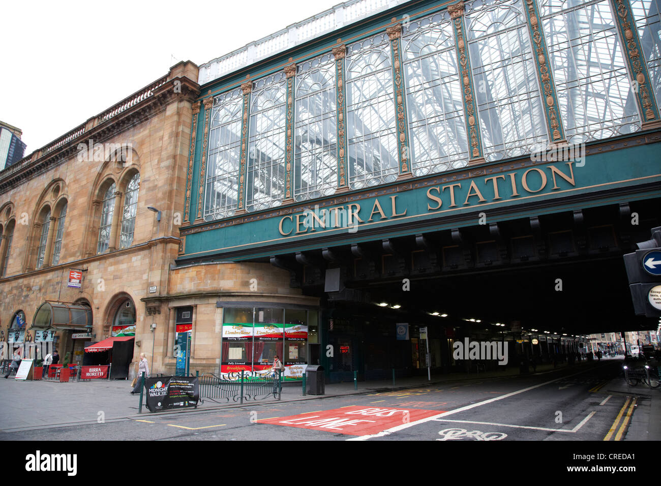 Hielanman's umbrella glass walled railway bridge for glasgow central station scotland uk - Stock Image