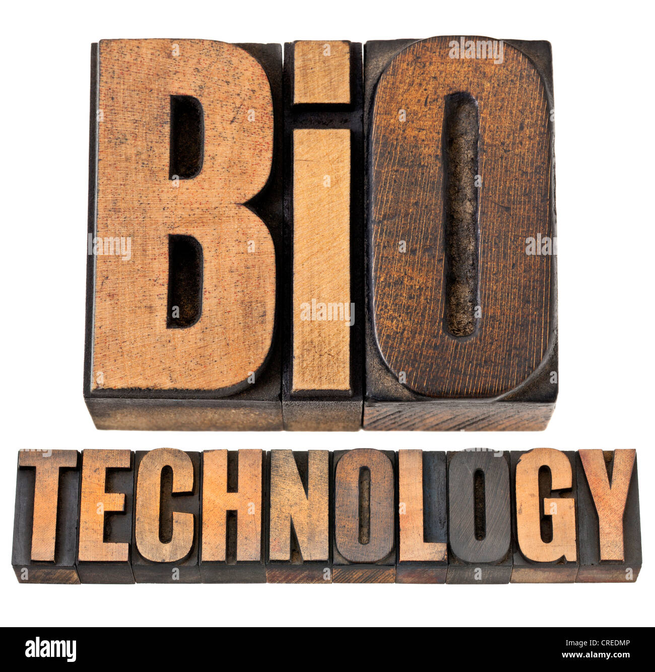 biotechnology - biotech concept - isolated text in vintage letterpress wood type - Stock Image