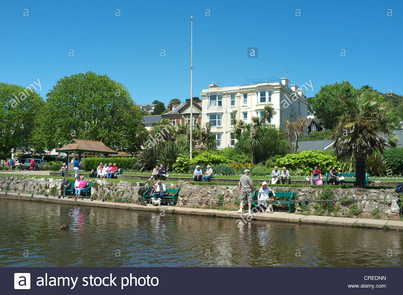 A view of The Lawn, a recreational area in the centre of Dawlish in south Devon, UK. - Stock Image