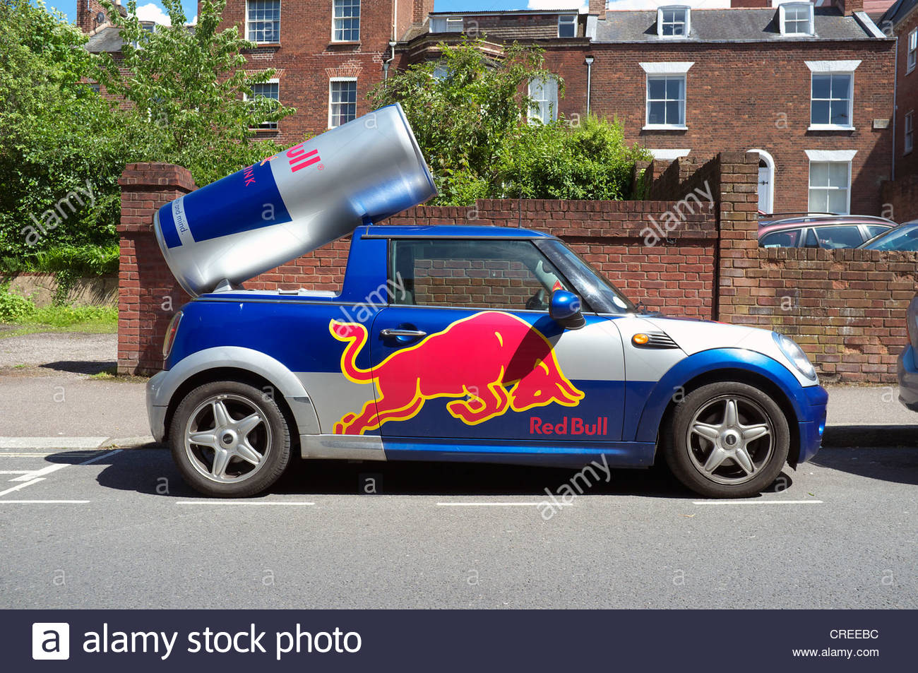 A Red Bull Mini Car Promotional Vehicle In Exeter Uk Stock Photo