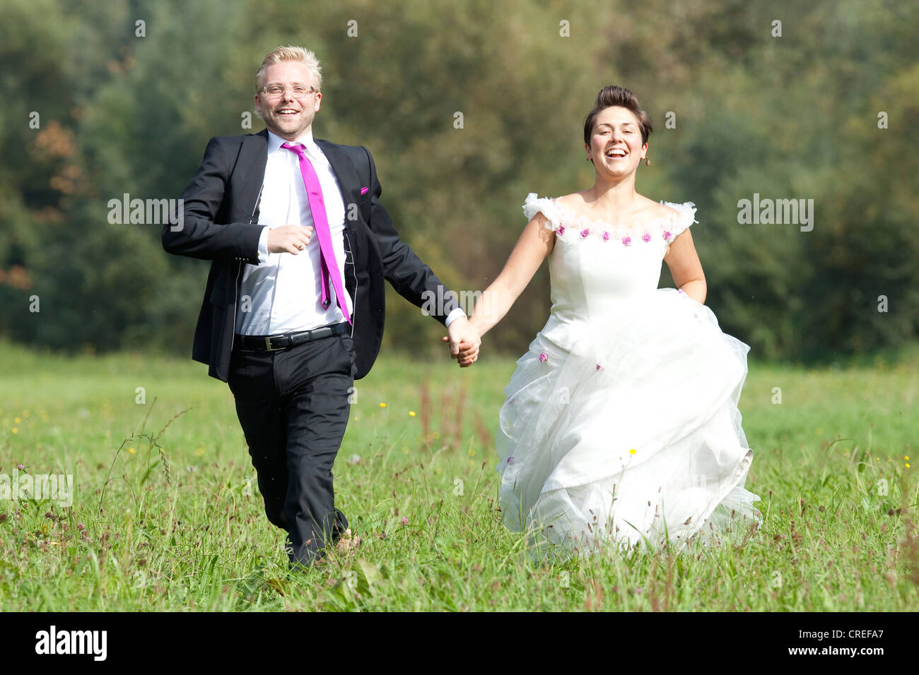Bride and groom running across a meadow, Regensburg, Bavaria, Germany, Europe - Stock Image