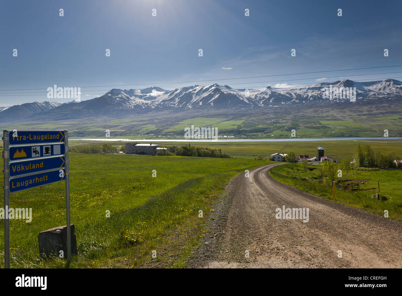 Tourist information, possibility of accomodation or a coffee break on a farm, Iceland, Northern Europe, Europe - Stock Image