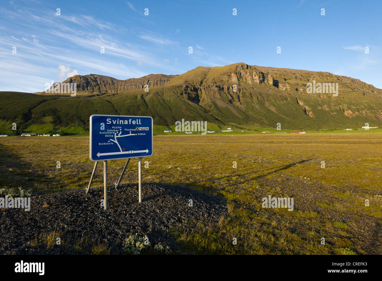 Sign for regional orientation, Svinafell, Iceland, Northern Europe, Europe - Stock Image