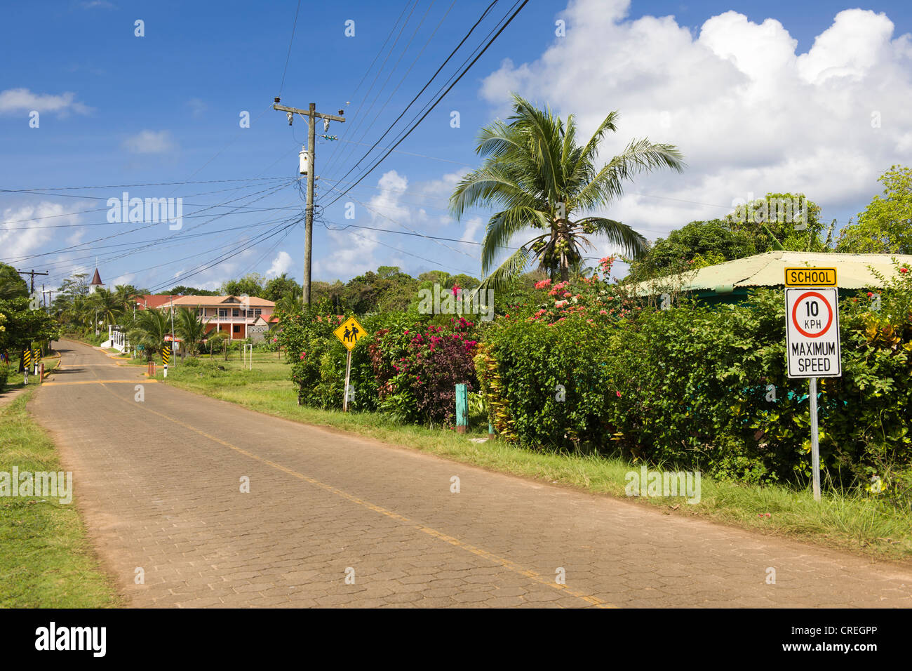 Road traffic signs in English in front of a school, Big Corn Island, Caribbean Sea, Nicaragua, Central America Stock Photo