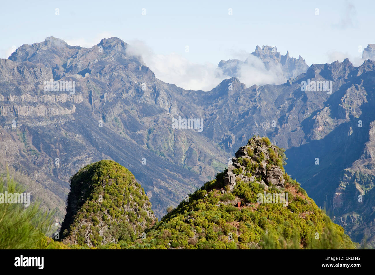 Central mountains of Madeira as seen from Encumeada mountain pass, Boca de Encumeada, Madeira, Portugal, Europe - Stock Image