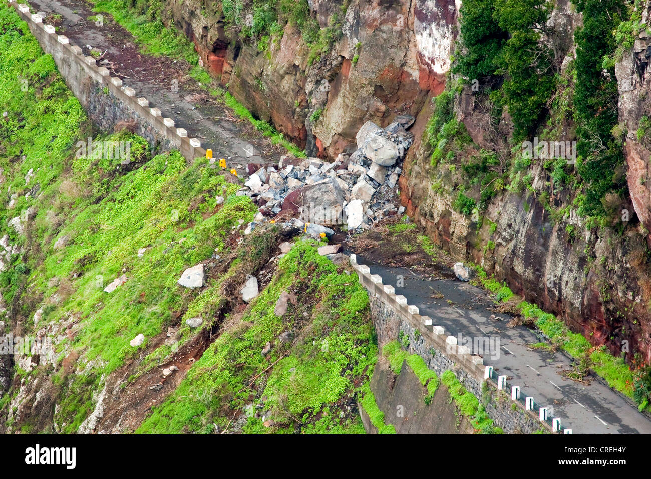 Road blocked by a landslide, Corral of the Nuns or Curral das Freiras, Madeira, Portugal, Europe Stock Photo