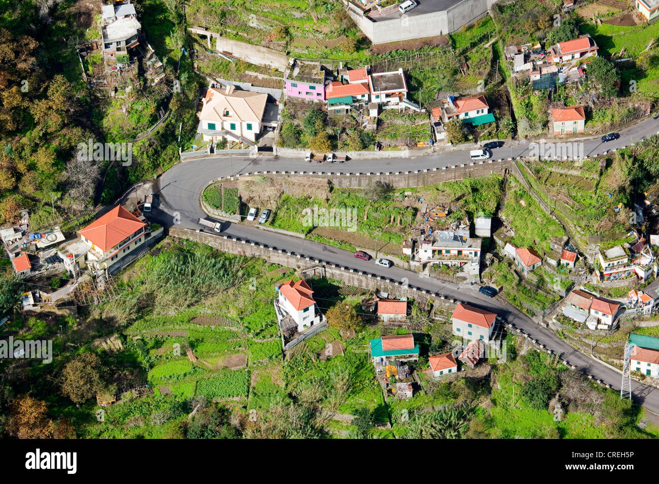Road construction in the Corral of the Nuns or Curral das Freiras, Madeira, Portugal, Europe - Stock Image