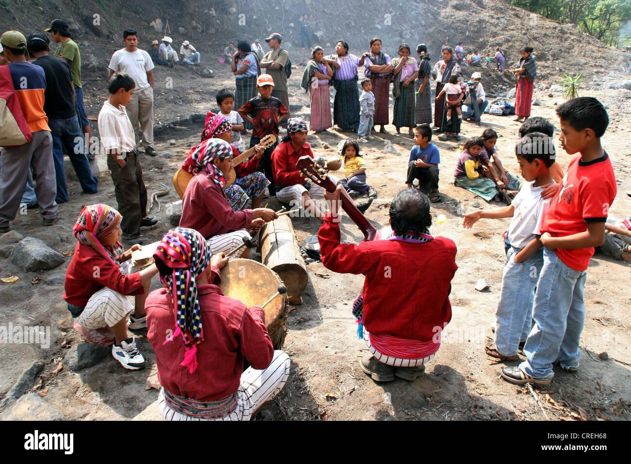 Mayan musicians  in Panabaj, Lake Atitlan, Guatemala, Atitlansee, Panabaj - Stock Image