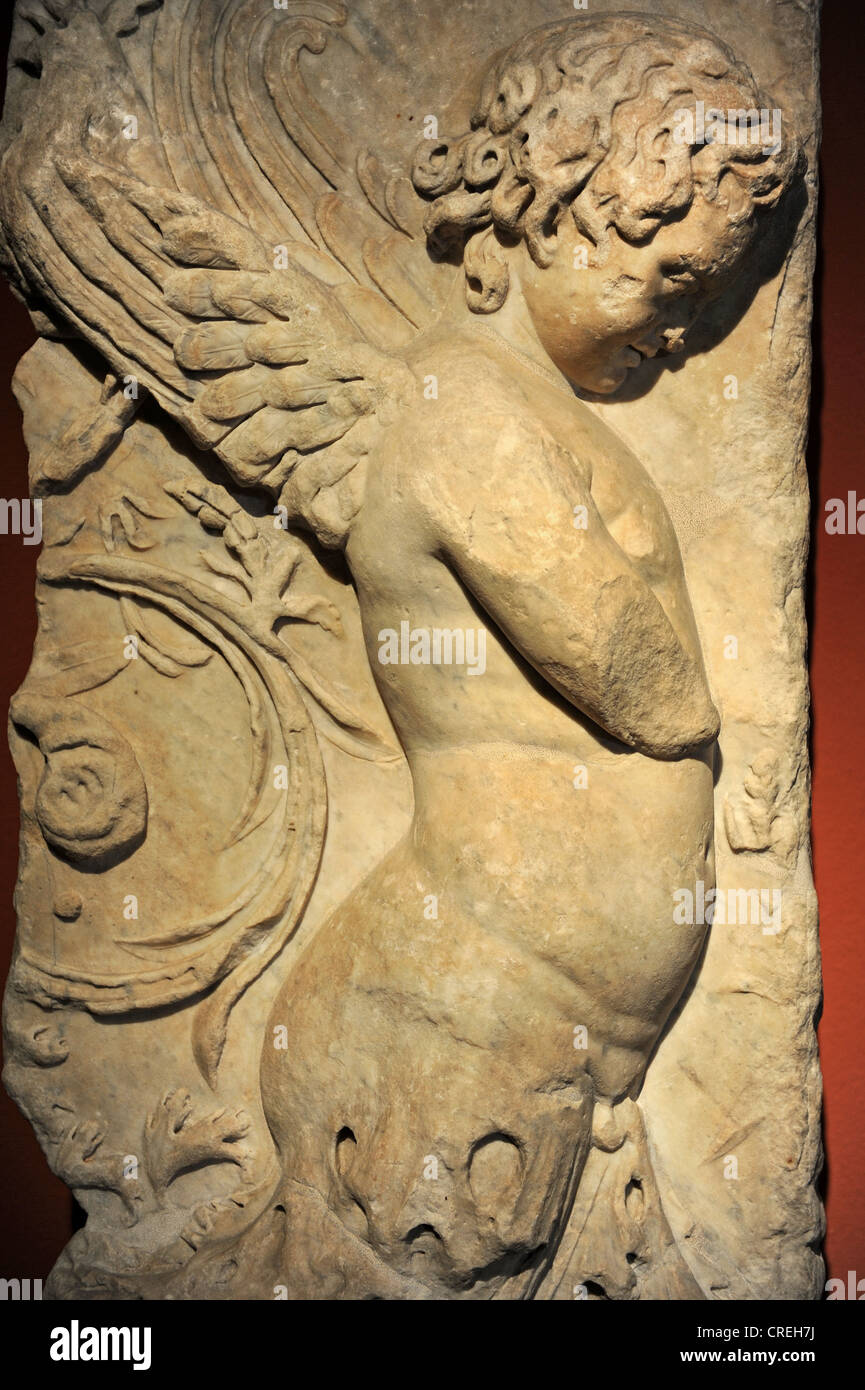 Fragment of a frieze with relief depicting Eros. 110 AD. Marble. Pergamon Museum. Berlin. Germany. - Stock Image