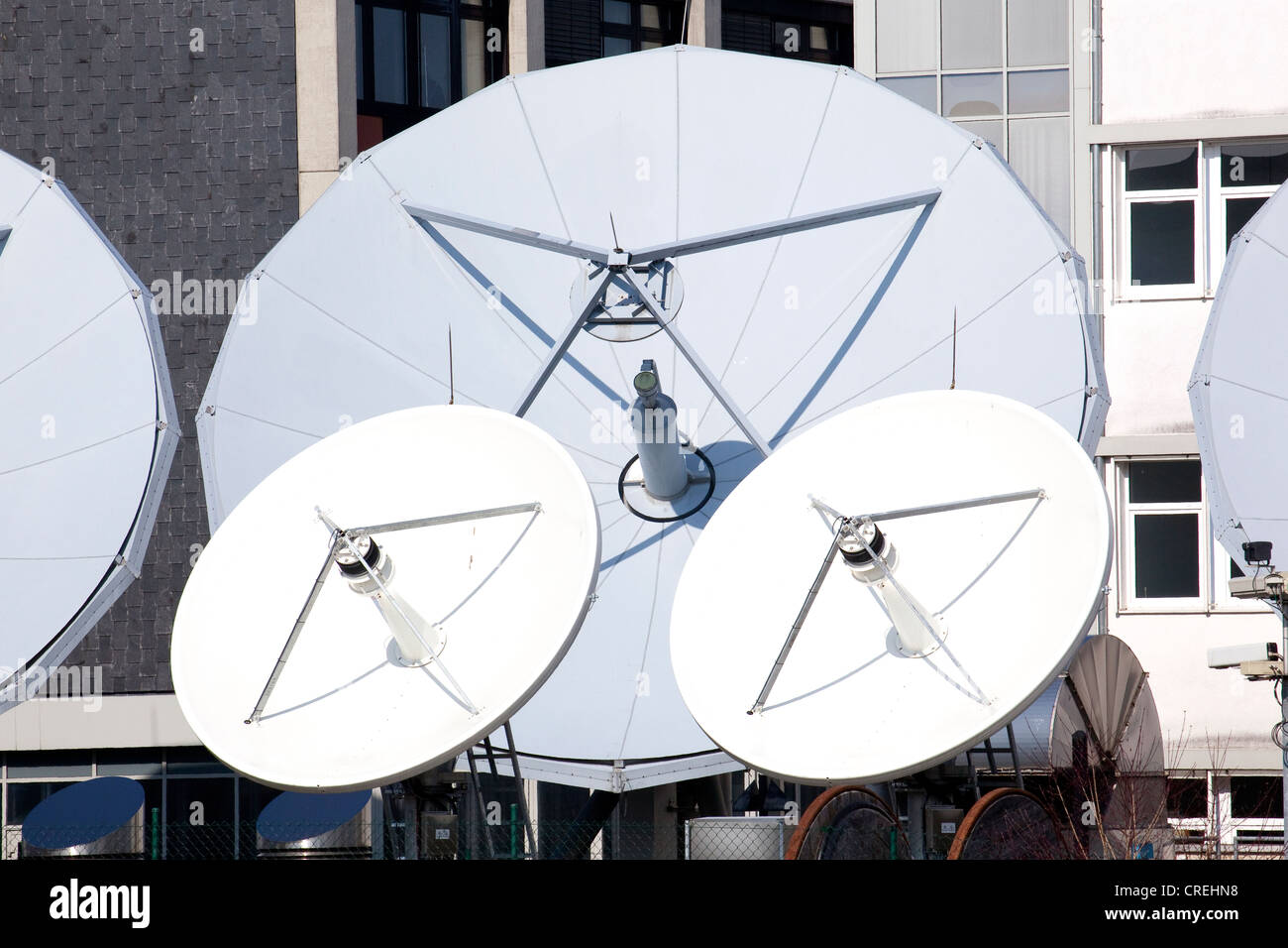 Satellite system for television stations in Unterfoehring near Munich, Bavaria, Germany, Europe - Stock Image
