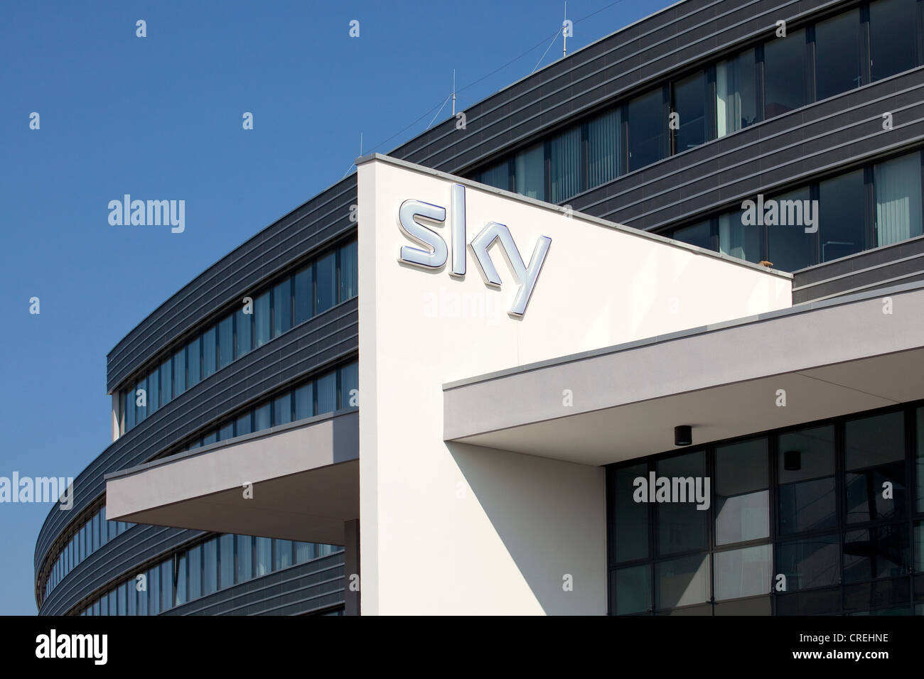 Logo at the head office of the pay-TV channel Sky Deutschland AG in Unterfoehring near Munich, Bavaria, Germany, Stock Photo
