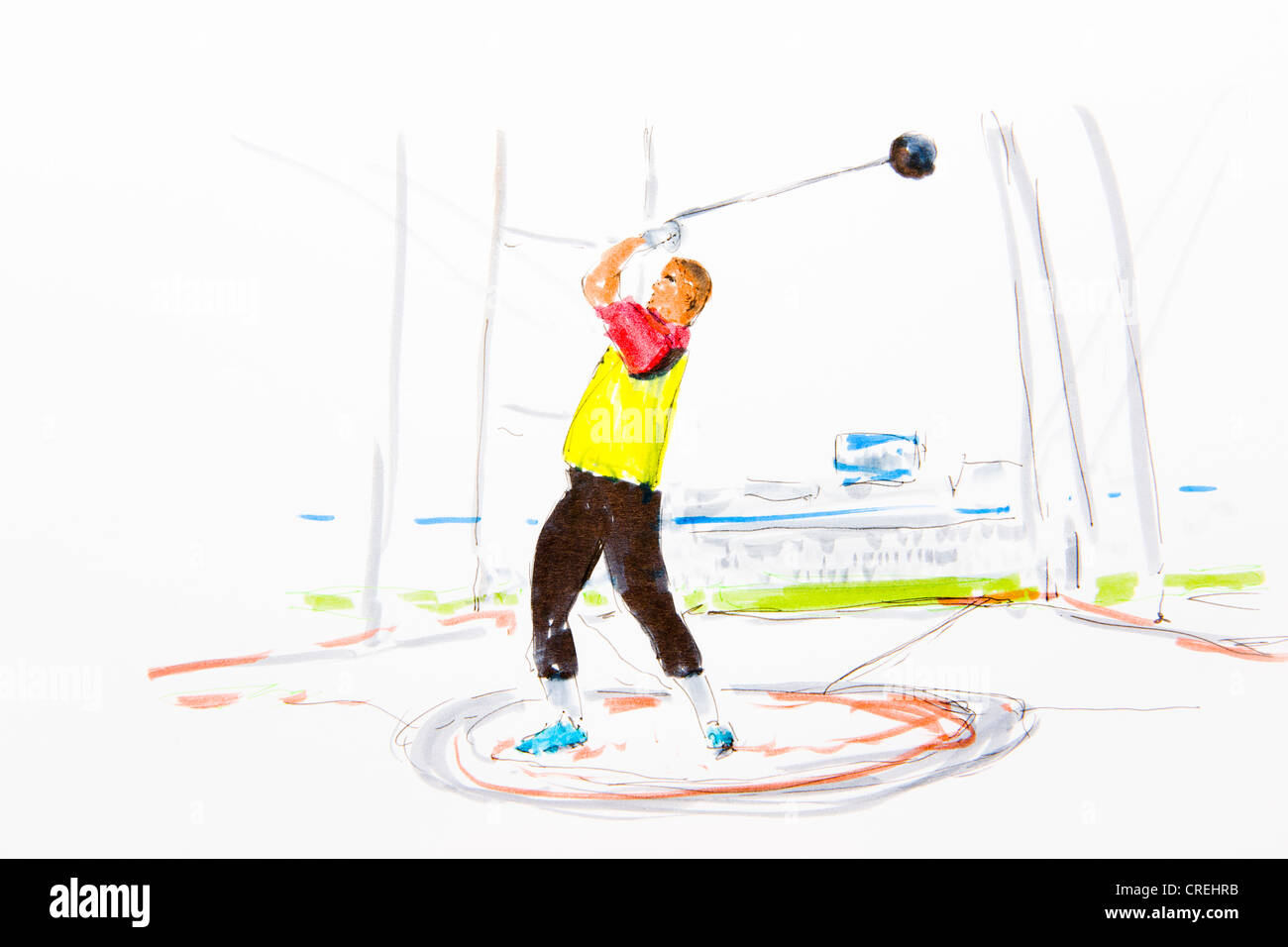 Hammer thrower, coloured drawing, by artist Gerhard Kraus, Kriftel, Germany - Stock Image