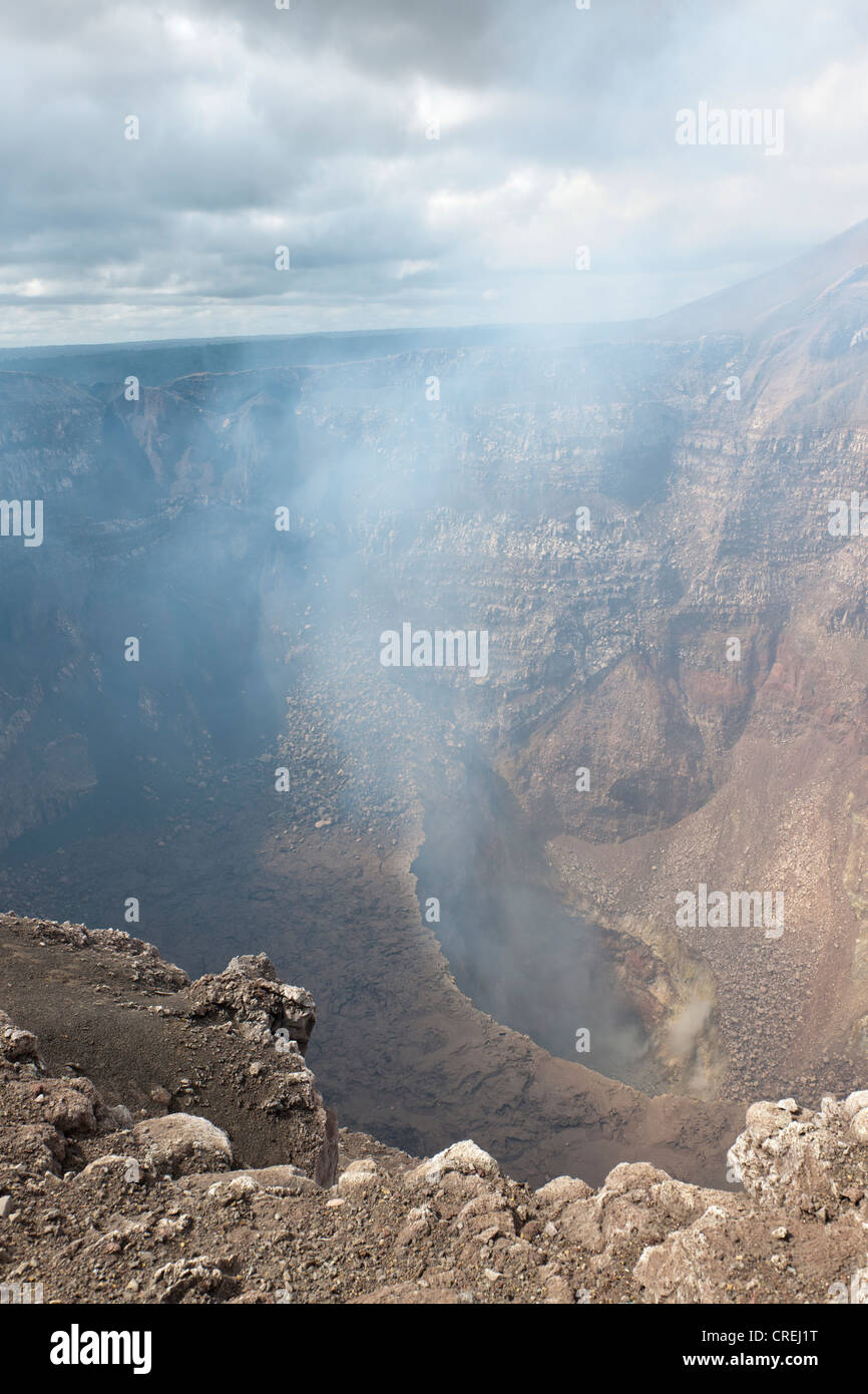 Smoke rising from the vent of the active Masaya Volcano, Masaya Volcano National Park, Nicaragua, Central America - Stock Image