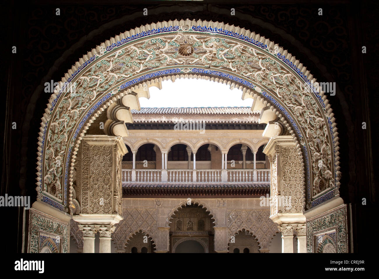 Moorish ornamentation on the Patio de las Doncellas in the Moorish King's Palace of Real Alcazar, UNESCO World - Stock Image