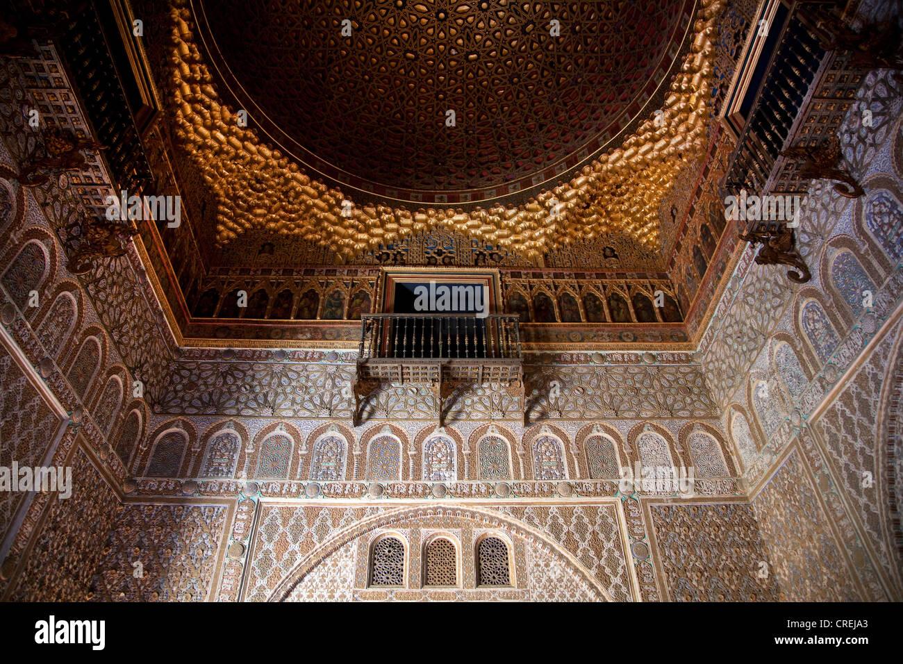 Sala de los Embajadores, Ambassador Room in the Moorish King's Palace of Real Alcazar, UNESCO World Heritage - Stock Image