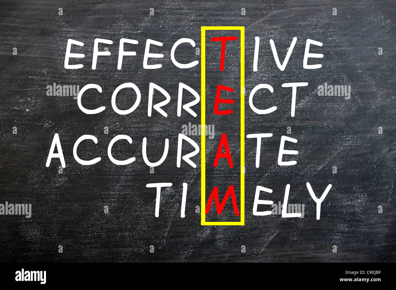 accurate achieve acronym background black blackboard board business chalk chalkboard classroom company concept reminder - Stock Image