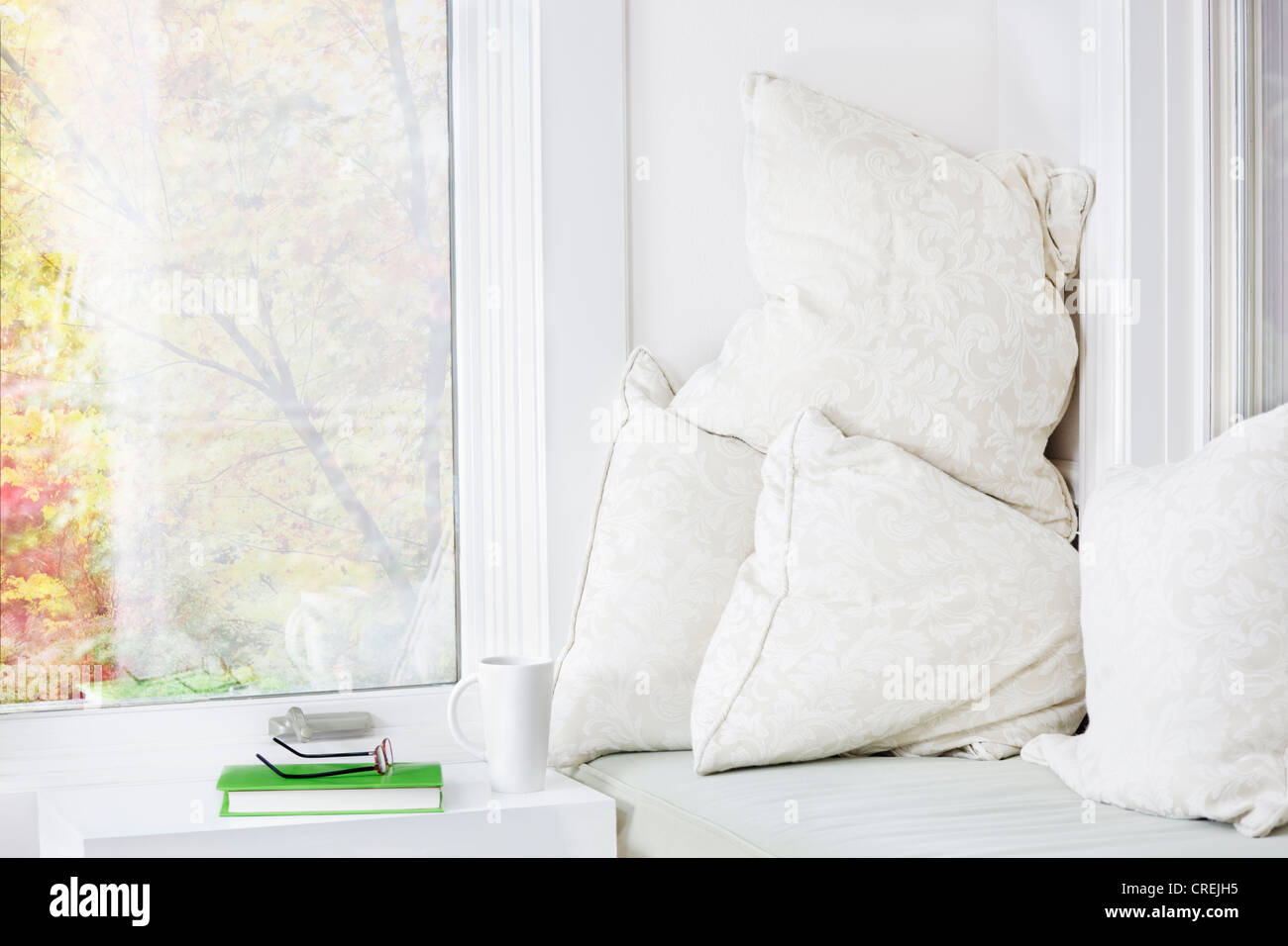 Window seat with cushions, book and mug; fall view - Stock Image