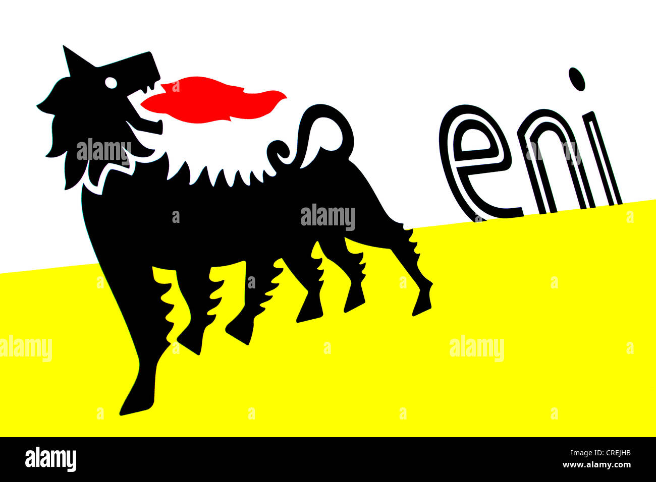 Logo of Eni, an Italian multinational oil and gas company, largest company of Italy with a chain of filling stations - Stock Image