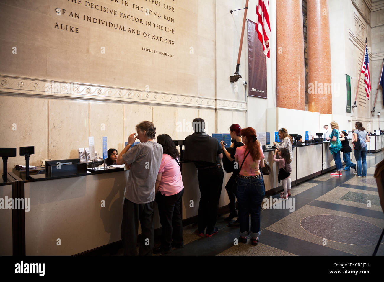 buying tickets at  American Museum of Natural History, New York City iconic Manhattan - Stock Image